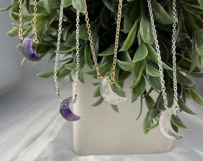Rose Quartz or Amethyst Crystal Moon Necklace