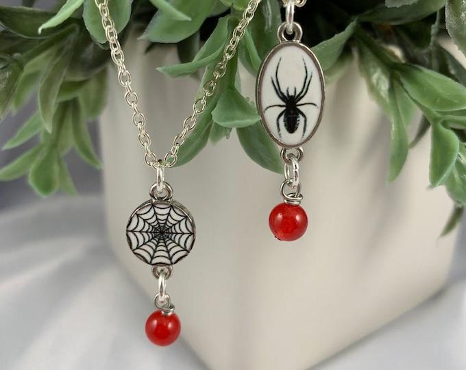 Spider or Spiderweb & Red Jade Crystal Necklace