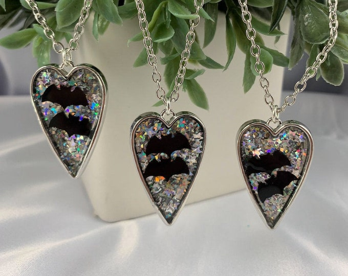 Bat & Glitter Heart Pendant Necklace