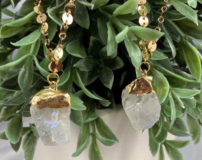 Angel Aura Quartz 14k Gold Plated Necklace