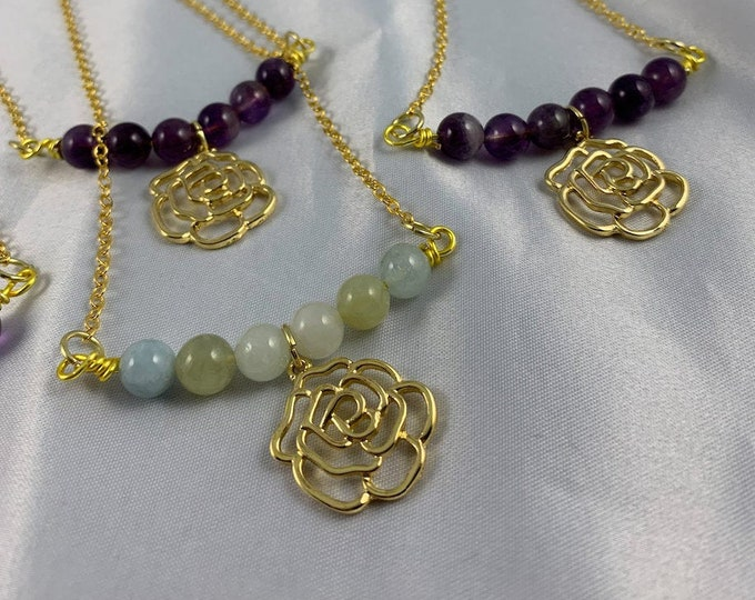 Gold Rose Assorted Stone Necklace
