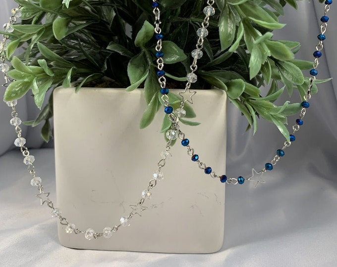 Beaded Silver Star Necklace