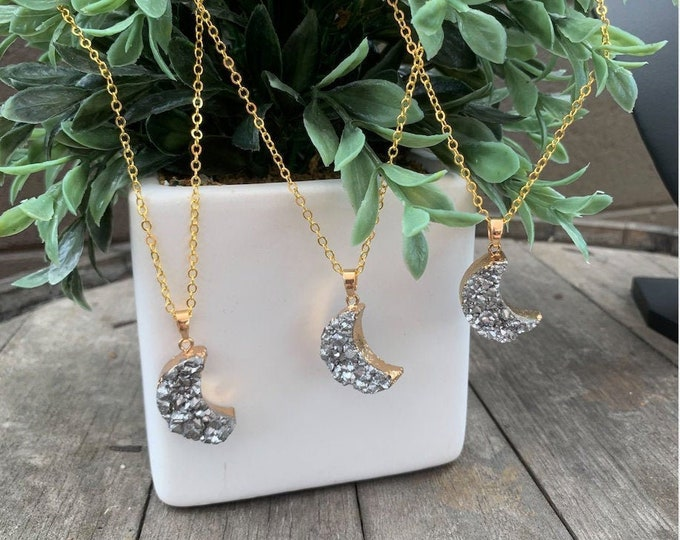 Moon Druzy Stone Pendant Necklace
