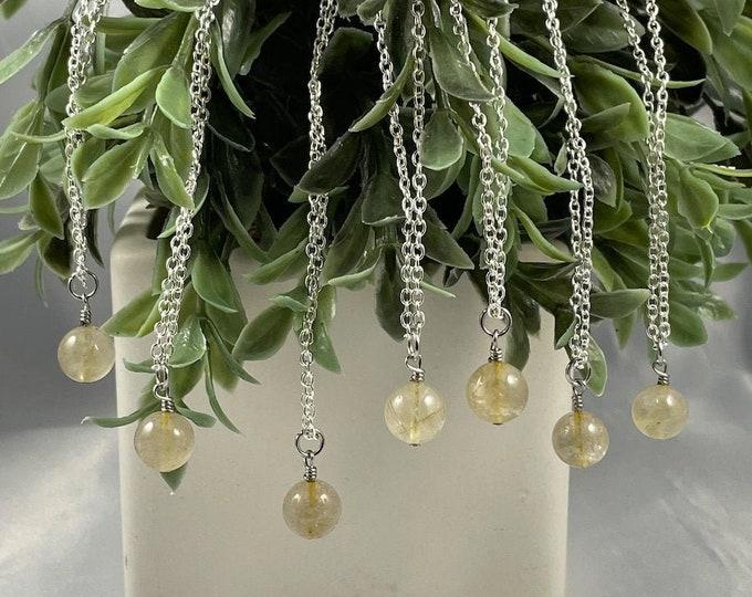 Golden Rutilated Quartz Crystal Necklace