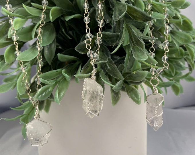 Clear Quartz & Beaded Chain Silver Necklace