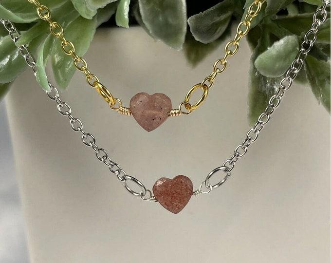 Strawberry Quartz Crystal Heart Necklace, Strawberry Quartz, Crystal Quartz, Quartz, Crystal Necklace, Crystal Jewelry, Heart Necklace