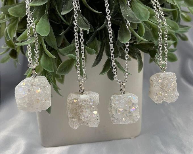 White Druzy Crystal Quartz Necklace