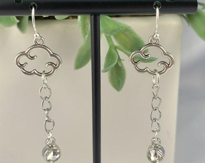 Cloud & Rhinestone Dangle Earrings