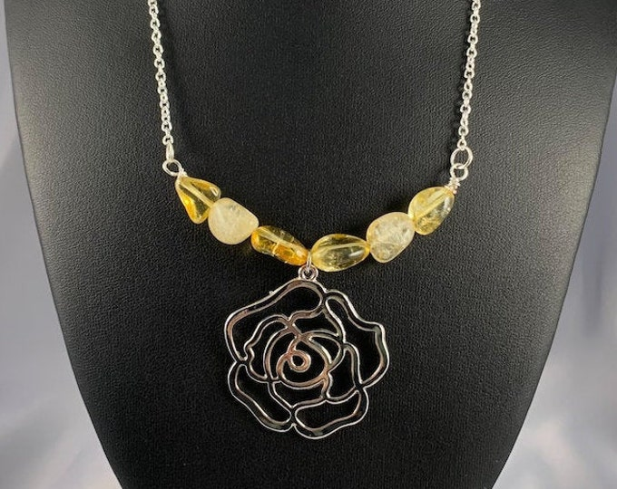 Silver Rose & Citrine Stone Necklace