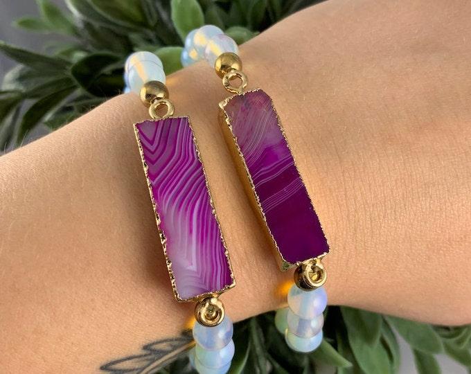 Pink Agate & Opalite Beaded Crystal Bracelet