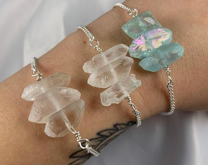 Crystal Quartz Silver Chain Bracelet