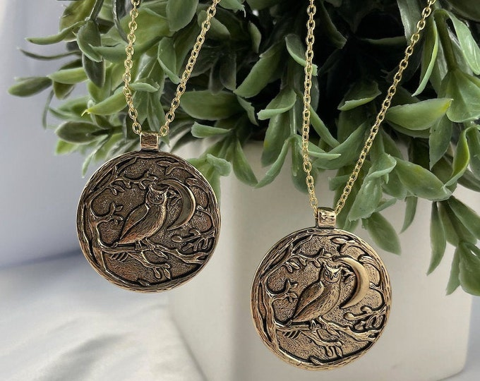 Owl & Moon Gold Pendant Necklace