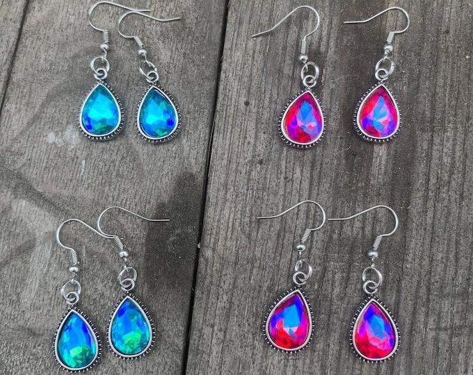 Blue or Pink Crystal Teardrop Crystal Earring
