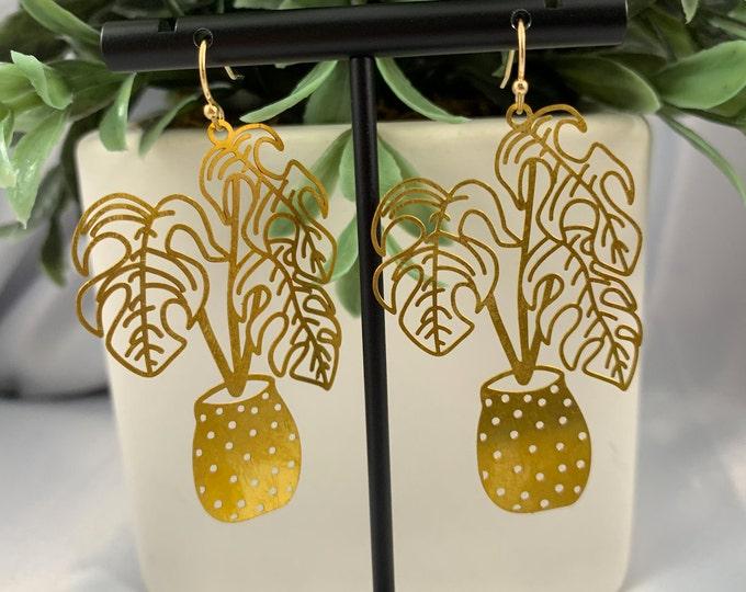 Monstera Plant Dangle Earrings