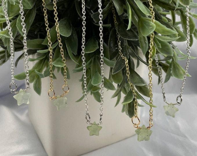 Prehnite Crystal Star Necklace