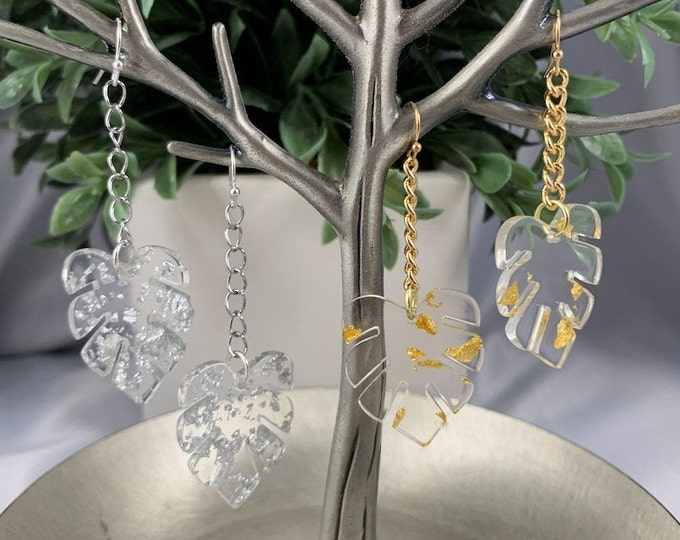 Gold or Silver Monstera Leaf Dangle Earrings