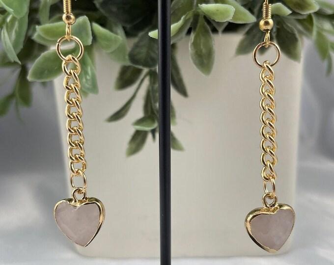 Rose Quartz Crystal Heart Dangle Earrings