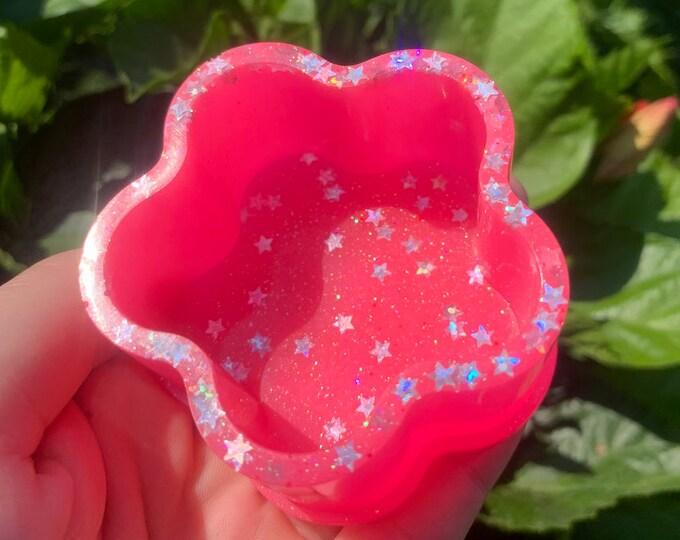 Pink Glow in the Dark Flower Jewelry Dish