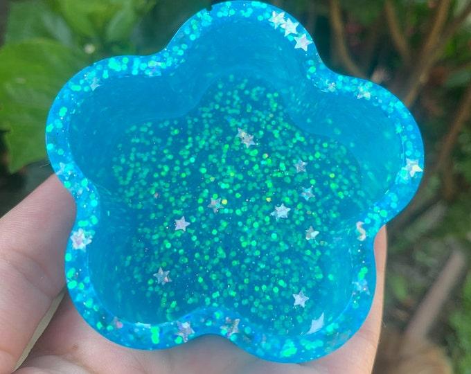 Blue Glow in the Dark Flower Jewelry Dish