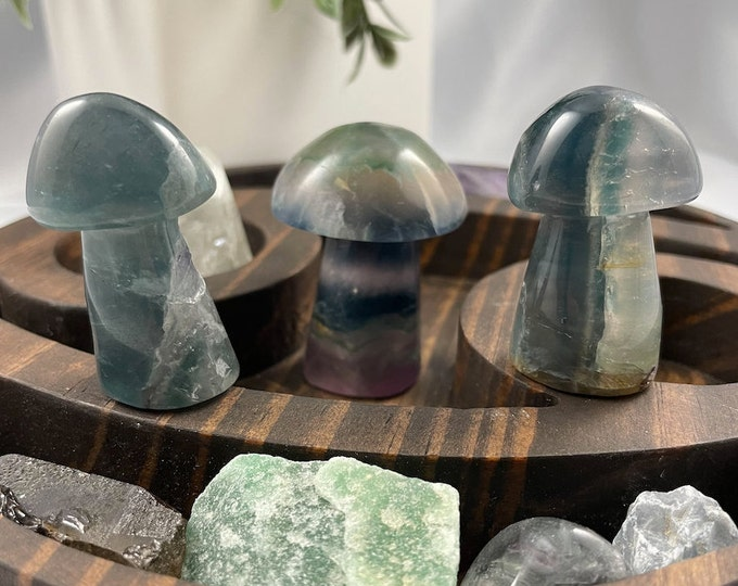 Natural Fluorite Mushroom Carved Crystal