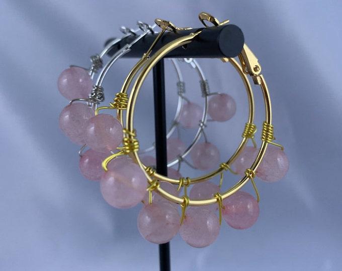 Rose Quartz Stone Silver or Gold Hoop Earrings