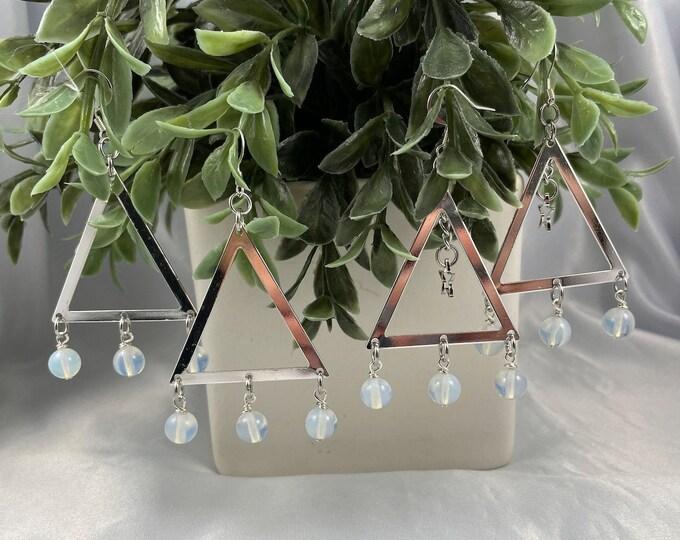 Opalite Crystal Dangle Triangle Earrings