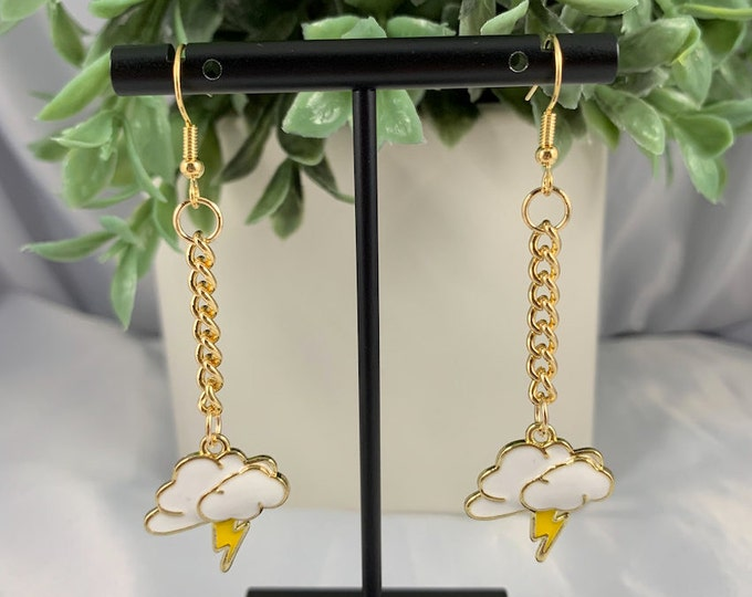 Lightning Cloud Gold Dangle Earrings