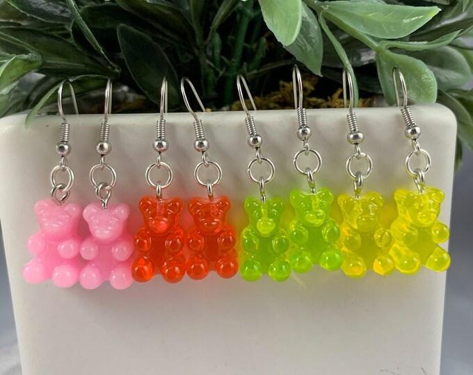 Assorted Color Gummy Bear Earrings