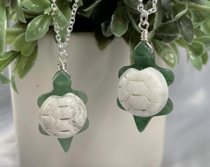 Green Aventurine & Howlite Crystal Turtle Necklace