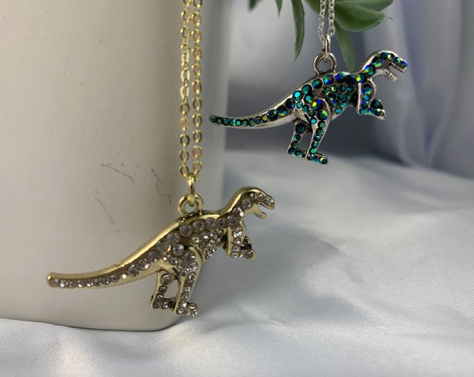 Rhinestone Dinosaur Pendant Necklace