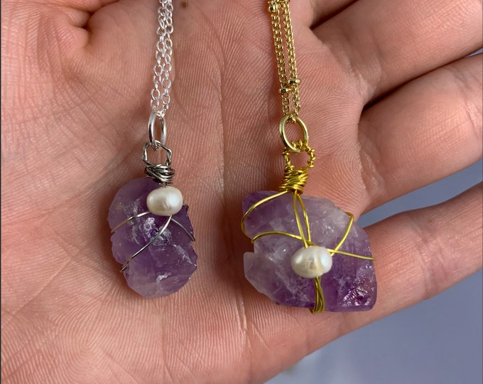 Raw Amethyst Stone & Freshwater Pearl Necklace