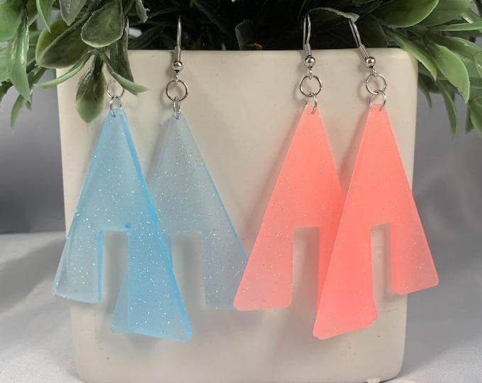Glow in the Dark Resin Triangle Earrings
