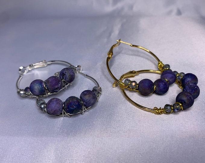 Purple Druzy Agate Stone Gold or Silver Hoop Earrings
