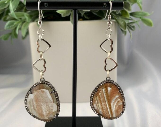 Gold Glitter Glass & Hearts Silver Dangle Earrings