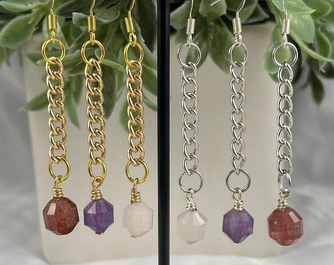 Crystal Dangle Earrings, Rose Quartz, Amethyst, Strawberry Quartz, Crystal Earrings, Dangle Earrings, Crystal Jewelry, Silver Earrings, Gold