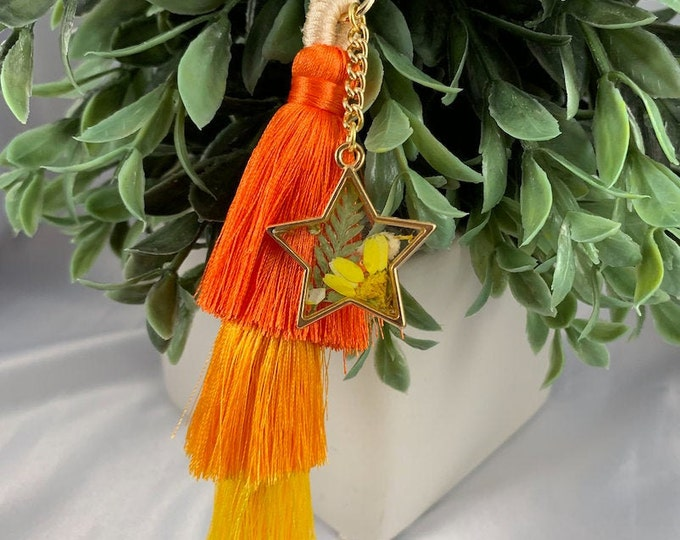 Floral Colorful Tassel Keychain