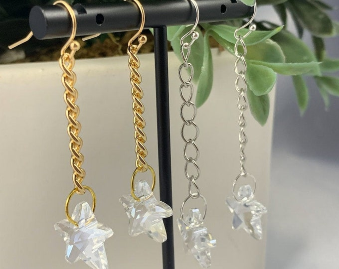 Iridescent Star Dangle Earrings, Gold Earrings, Silver Earrings, Dangle Earrings, Earrings under 20, Handmade Jewelry, Gifts for her,Crystal