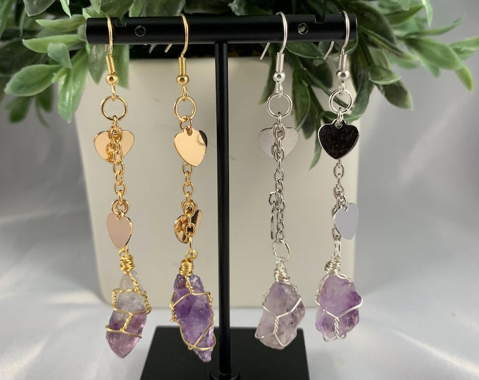 Amethyst Crystal Heart Dangle Earrings