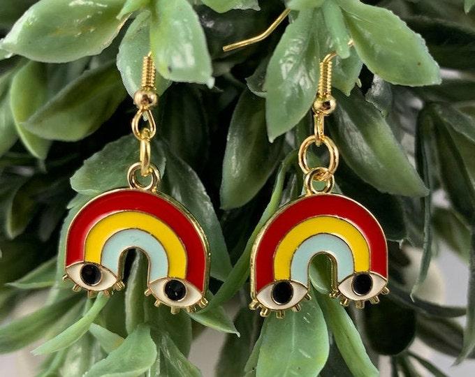 Rainbow Eyes Gold Dangle Earrings