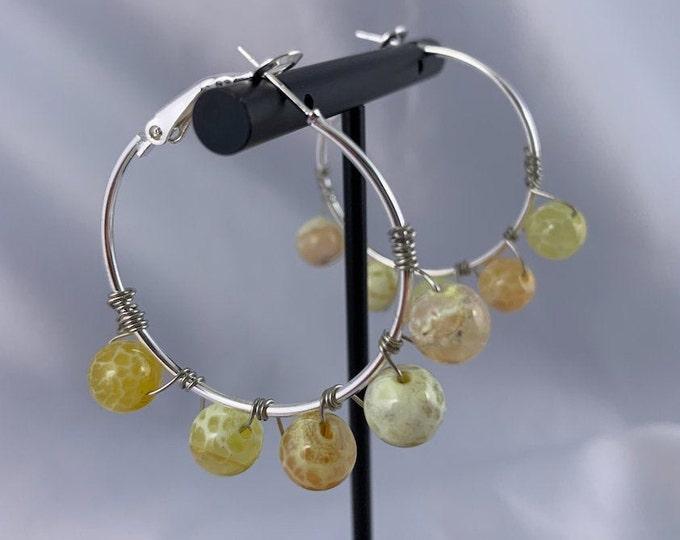 Yellow Fire Agate Stone Silver Hoop Earrings