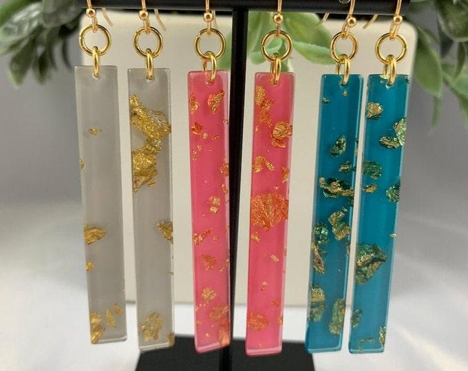 Long Glitter Gold Acrylic Dangle Earrings