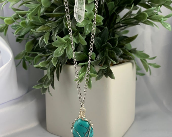 Turquoise & Clear Quartz Crystal Multi-Layered Necklace