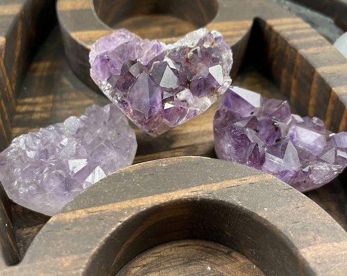 Amethyst Heart Crystal Cluster Set