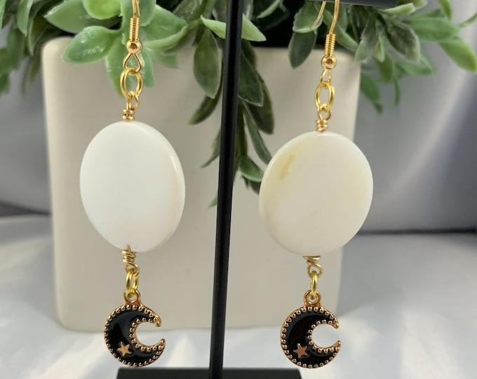 White Shell & Black Moon Dangle Earrings
