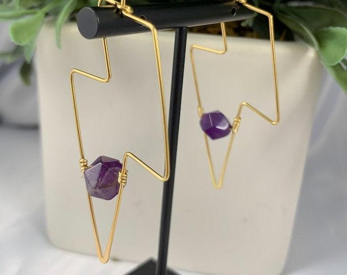 Amethyst Lightning Bolt Gold Earrings