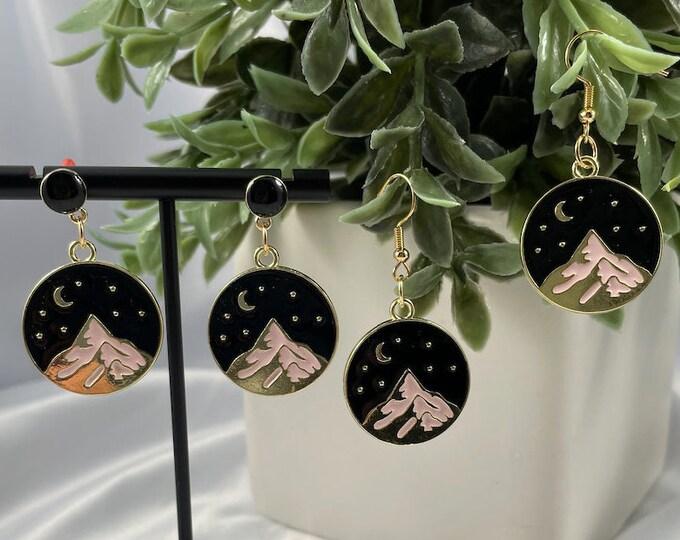 Moon & Mountain Gold Dangle Earrings
