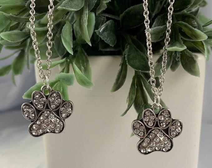 Rhinestone Paw Print Necklace