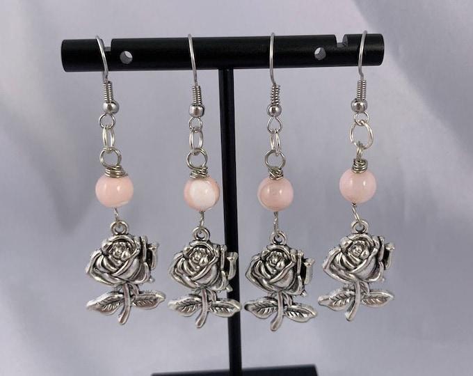 Rose & Pink Mother of Pearl Dangle Earrings