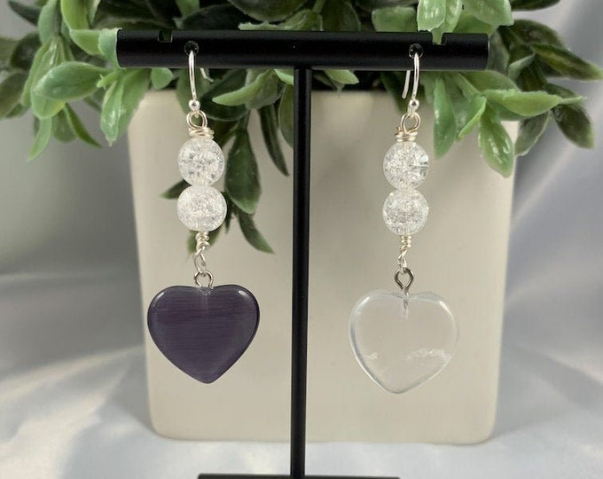 Crystal Quartz Heart Mismatched Earrings