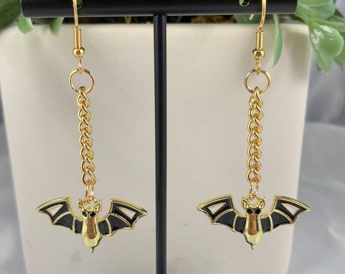 Spooky Bat Gold Dangle Earrings
